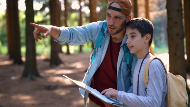 Father and son reading map in forest