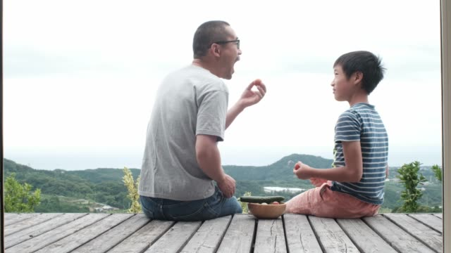 father and son sitting at deck - リアルライフ 点の映像素材/bロール
