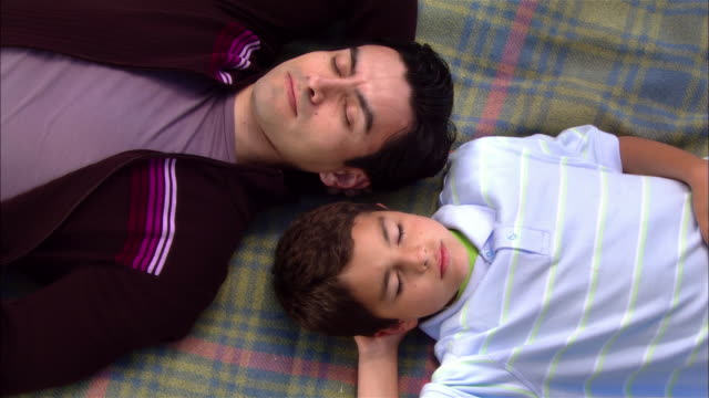 CU, Father and son (8-9) taking nap on picnic blanket, overhead view, Leffingwell Park, Cambria, California, USA