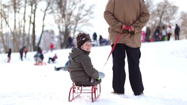 padre e figlio  - scivolare video stock e b–roll