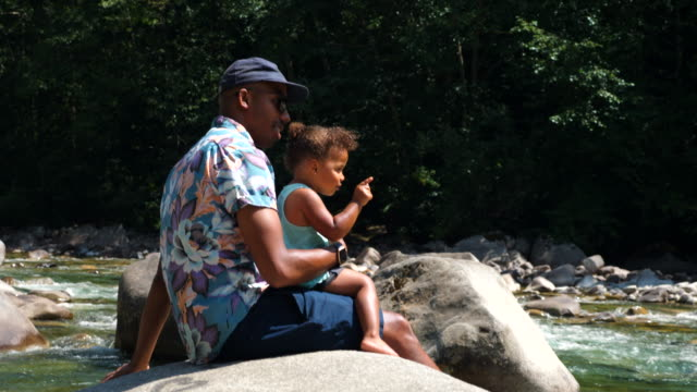ms father and toddler daughter sitting on rock by river on summer afternoon - sunglasses stock videos & royalty-free footage