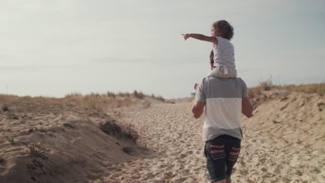 vidéos et rushes de father carrying on on shoulders on sand dune - environnement