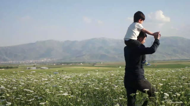 father carrying son on shoulders - outdoor pursuit stock videos & royalty-free footage
