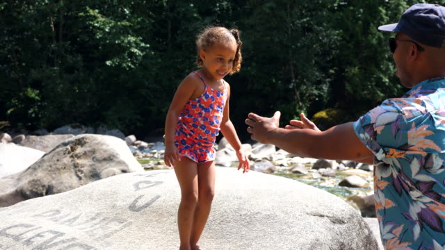 ms father catching daughter jumping off rock while playing by river on summer afternoon - daughter stock videos & royalty-free footage