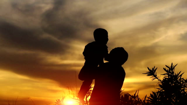 father & child playing outdoor silhouette - in silhouette stock videos & royalty-free footage