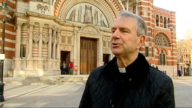 father christopher jamison interview: westminster cathedral gvs; england: london: westminster: ext father christopher jamison along from wesminster... - westminster cathedral stock videos & royalty-free footage
