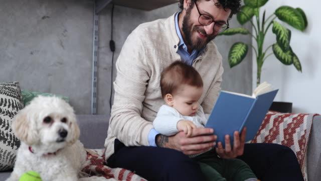 vater, niedlichen hund und baby schlaflieder singen und geschichten lesen - single father stock-videos und b-roll-filmmaterial