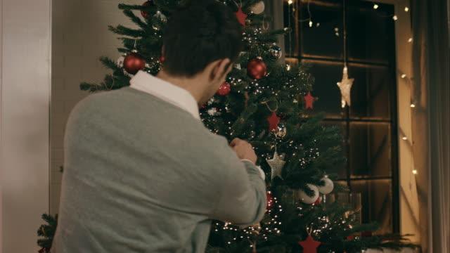 Padre Decorare l'albero di Natale