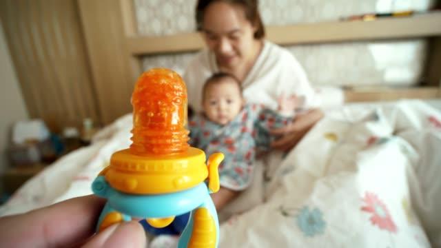 pov : father feeding son - 6 11 months stock videos & royalty-free footage