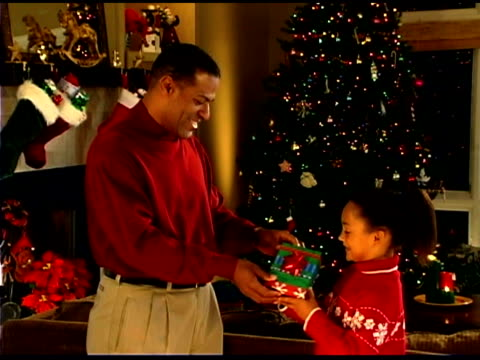 father giving christmas gift to daughter - see other clips from this shoot 1407 stock videos and b-roll footage