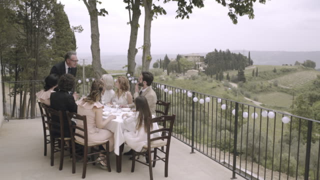 vidéos et rushes de father giving speech on wedding day - discours