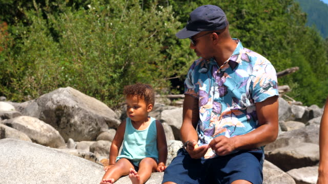 ms father hanging out with toddler daughter on rock by river on summer afternoon - floral pattern stock videos & royalty-free footage