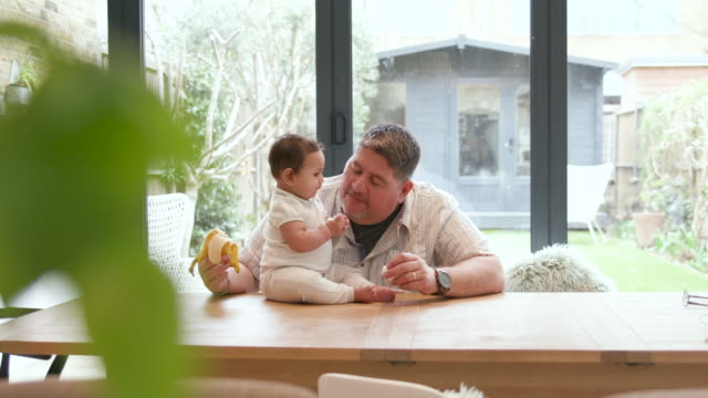 a father helping to feed his baby daughter a banana - weekend activities stock videos & royalty-free footage