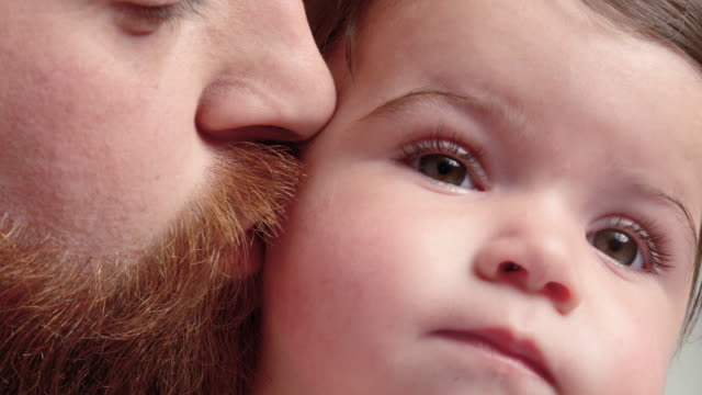 father kissing baby - 6 11 months stock videos & royalty-free footage