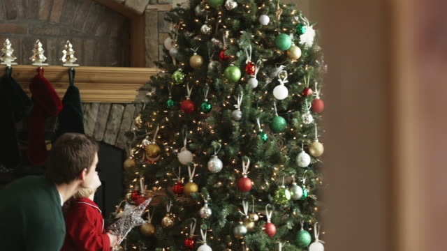 father lifting daughter up to put the star on top of the christmas tree - orem utah stock videos & royalty-free footage