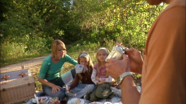 father loading dvd into digital camcorder and filming family picnic - digital camcorder stock videos & royalty-free footage