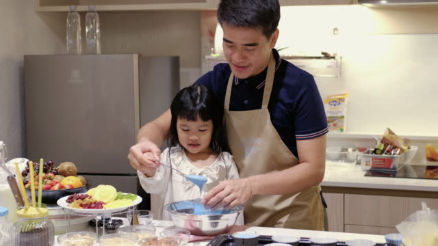 Father Make a sweet food with Daugther