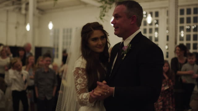 father of the bride and daughter dancing at wedding reception / provo, utah, united states - father of the bride stock videos and b-roll footage