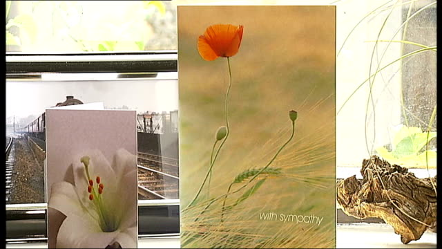 father pays tribute to his royal marine son symparthy cards on window sill ext brian harrison interview sot was a joy to be with / nice all round guy - window sill stock videos and b-roll footage