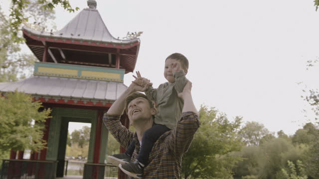 father playing with baby boy son on shoulders in park on sunny day in autumn in front of chinese pagoda - pagoda stock videos & royalty-free footage
