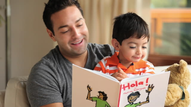 cu father reading book to son (2-3) indoors / richmond, virginia, usa - picture book stock videos and b-roll footage
