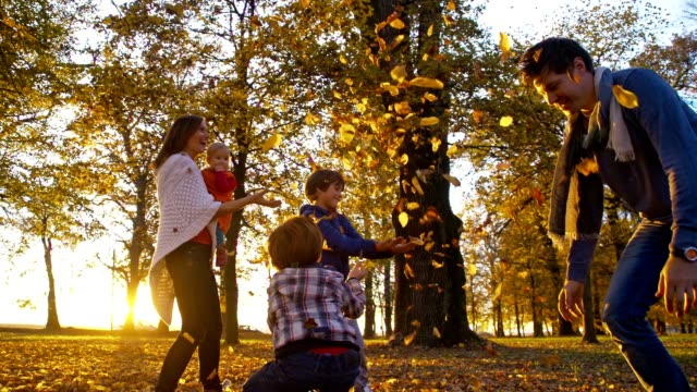 slo mo father scattering autumn leaves over his family - family with three children stock videos & royalty-free footage