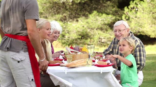vídeos de stock, filmes e b-roll de father serving food to son at picnic table - mãos cobrindo boca