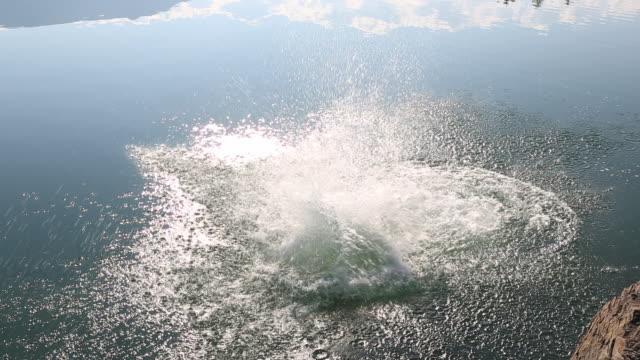 father & son jump into mountain lake, into sunlight - prole adulta video stock e b–roll