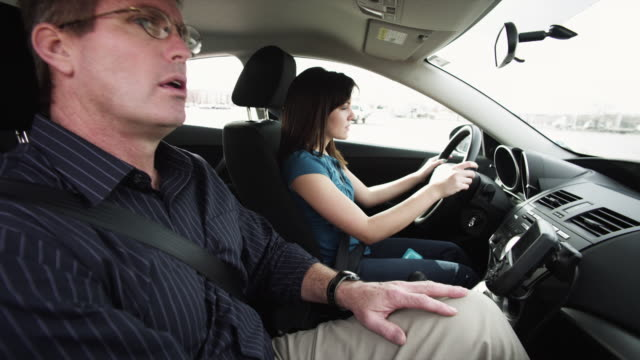 ms father teaching daughter (16-17) to drive / orem, utah, usa - learning to drive stock videos & royalty-free footage