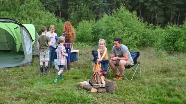vídeos de stock e filmes b-roll de father teaching young daughter how to roast marshmallows - família com quatro filhos