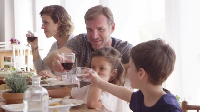 father toasting drinks with children during lunch - sala da pranzo video stock e b–roll