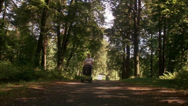 vídeos y material grabado en eventos de stock de father walking in a park with a pram a sunny day sweden. - padre solo