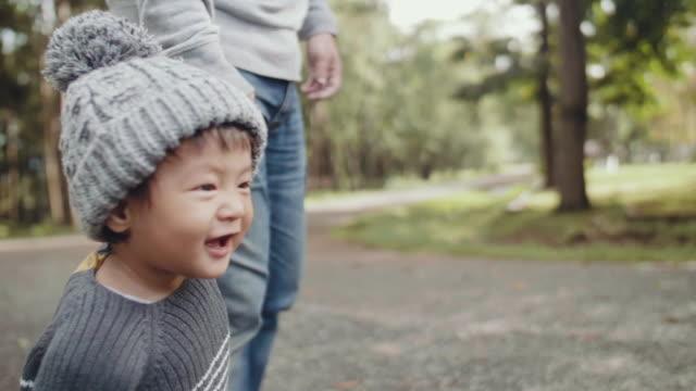 vater zu fuß mit baby halten hände in holz - lernen stock-videos und b-roll-filmmaterial