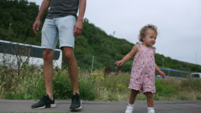 father walking with daughter - single parent family stock videos & royalty-free footage