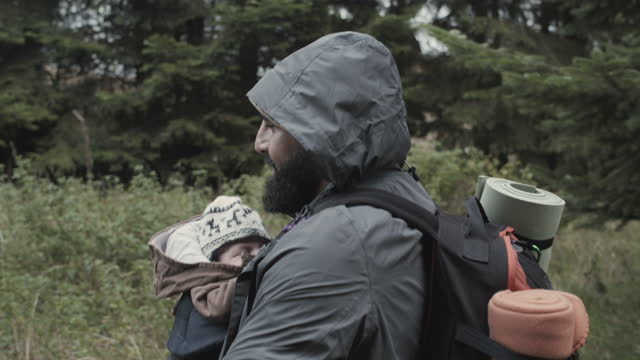 father with baby girl in forest - baby girls stock videos & royalty-free footage