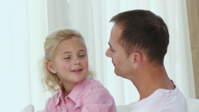 ms father with daughter (8-9) talking and smiling / cape town, south africa - see other clips from this shoot 1811 stock videos & royalty-free footage