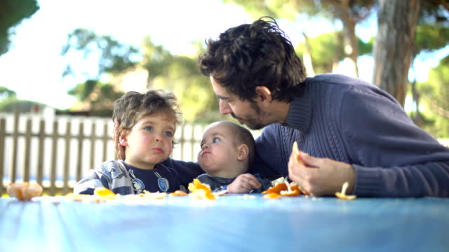 A father with two little sons peeling and eating tangerines in the garden