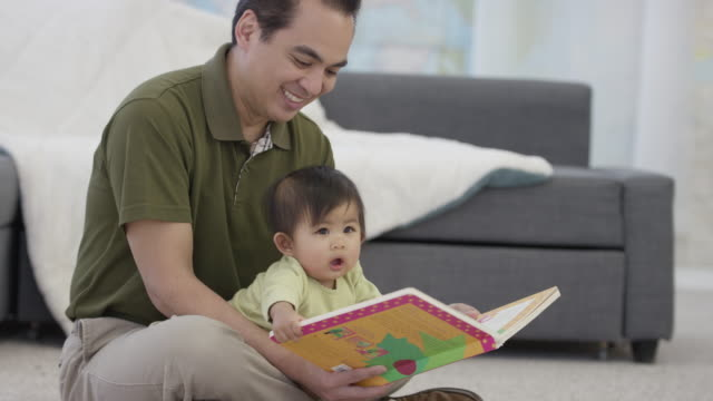 father-daughter reading - fatcamera baby stock videos and b-roll footage