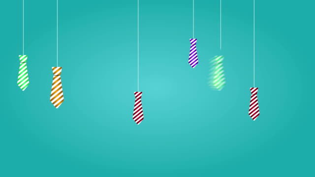fathers day with hanging ties. 4k animation. - banner sign stock videos & royalty-free footage