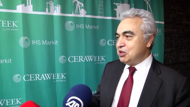 fatih birol international energy agency executive director speaks to journalist during cera week energy conference 2017 by ihs markit in houston... - executive director stock videos & royalty-free footage