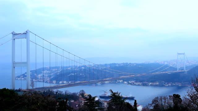 hd: fatih sultan mehmet bridge,  istanbul, turkey - sultan stock videos and b-roll footage
