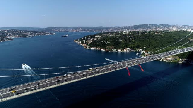 stockvideo's en b-roll-footage met fatih sultan mehmet-brug met bosporus - hangbrug