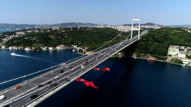 fatih sultan mehmet bridge with bosphorus - istanbul stock videos & royalty-free footage