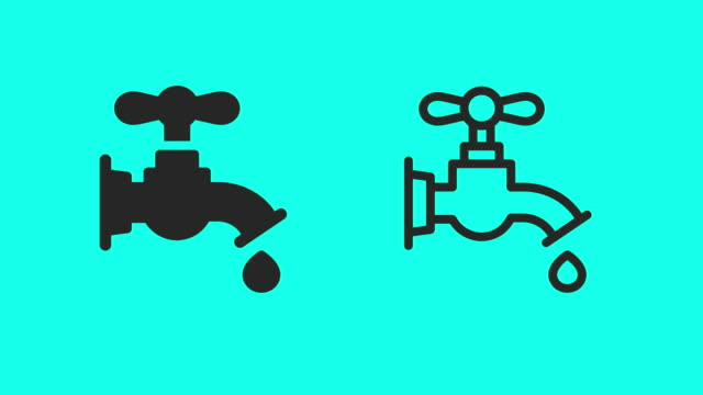 vídeos de stock, filmes e b-roll de ícones faucet - vector animate - ícone de linha