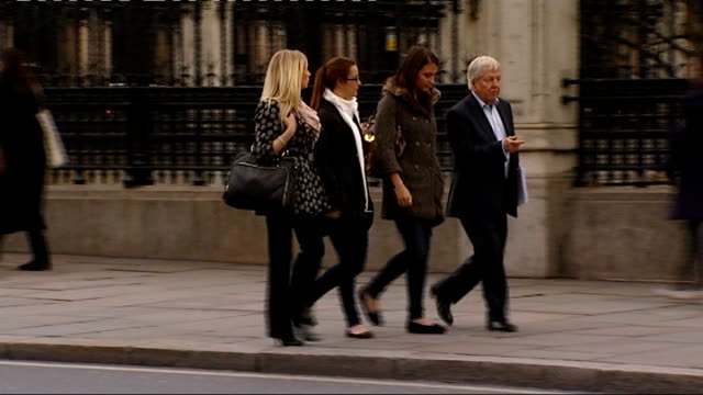 Andrew Lansley to make statement ENGLAND London Westminster EXT Reporter greeting women Morgan Serres Heather Oag and Charlotte Kirkwood Reporter and...