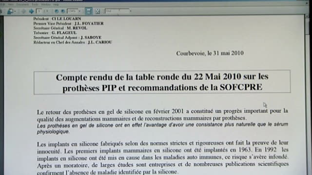 government advice may be flawed Fiona Gilbert interview SOT London Close shots of computer screen showing documents by the Societe Francaise de...