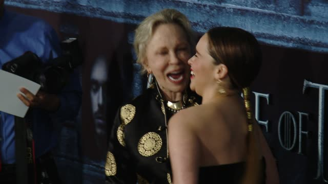 faye dunaway and emilia clarke at the game of thrones season 6 los angeles premiere at tcl chinese theatre on april 10 2016 in hollywood california - faye dunaway stock videos and b-roll footage