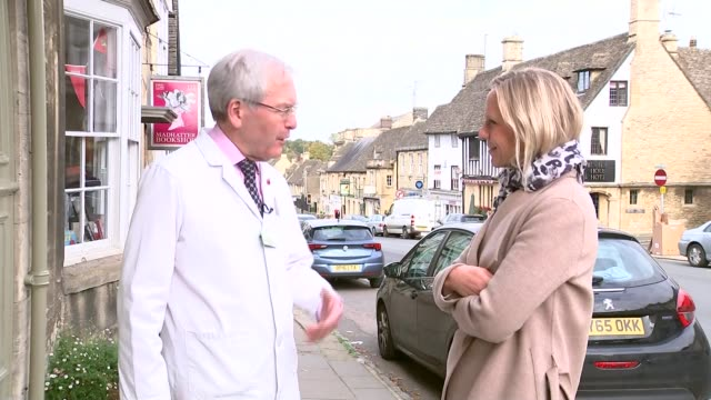 fears thousands of high street pharmacies could close as funding is slashed england west oxfordshire burford ext cedric reavley stands talking with... - oxfordshire stock-videos und b-roll-filmmaterial