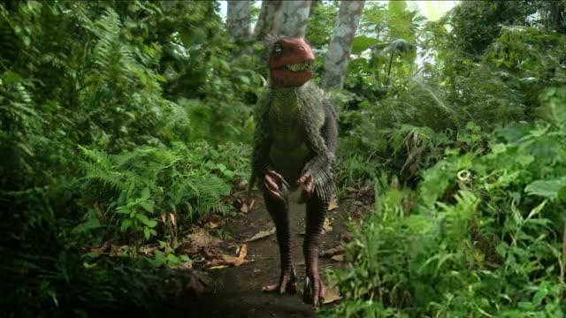 a feathered dinosaur sneaks across a path in a computer-generated animation. - fjäder bildbanksvideor och videomaterial från bakom kulisserna