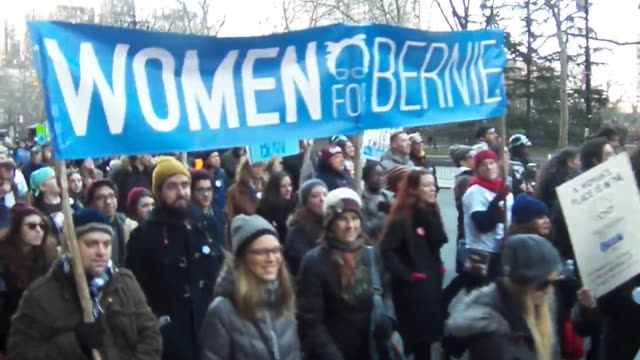 feb 27th 2016 over 600 new yorkers took to the streets of new york city to show there support and march for bernie sanders leading the march were the... - 2016 stock videos & royalty-free footage